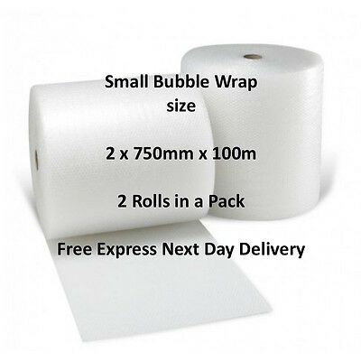 Cush - n - Air Branded Small Bubble Wrap Size: 2 Rolls of 750mm x 100m
