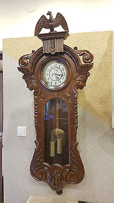 2 weight Germany wall clock at 1900  NEW CASE OLD MOVEMENT