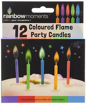 Rainbow Moments 12 Coloured Flame Candles Birthday Cake Candle Decoration SP7201