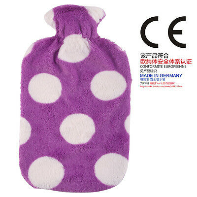 Germany Fashy 2L Hot Water Bottle With Purple Wave Point Fleece Cover 6720