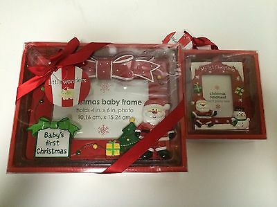 "LOT OF 2 Baby's First Christmas Santa Picture Frame 4"" x 6"" Little Wonder"