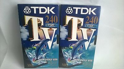 2 x TDK TV240 4 Hour Blank VHS Video Tapes Brand New & Sealed Movie For Daily Us