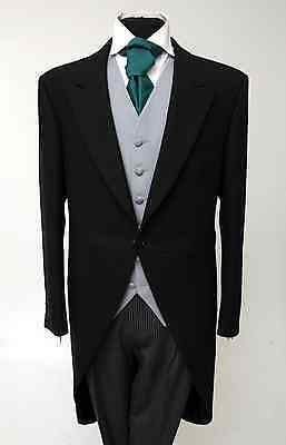 Mj-200 Men's Black Two Piece Formal Morning Tails Suit Ascot/wedding/tailcoat