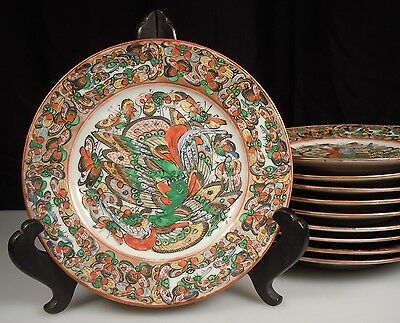 Chinese Export Porcelain 1000 Butterfly 10 Bread / Dessert Plates- Famille Rose