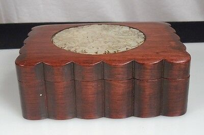 Chinese Rosewood Box w/ Carved Jade Inset Plaque