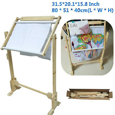 Wood Cross-stitch Frame Hardwood Scroll Embroidery Frame Lap Stand Scroll