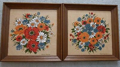 2 Vintage Kay Dee Hand Prints 100% Pure Linen Framed Pictures Poppies Daisies