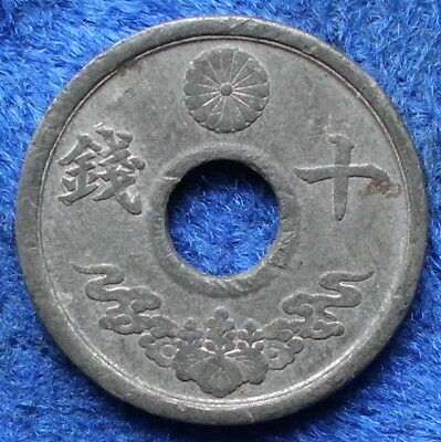 JAPAN - 10 sen year 19 (1944) Y# 64 Hirohito (Showa) - Edelweiss Coins
