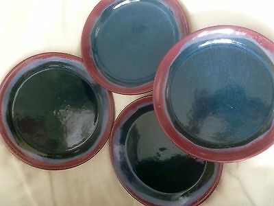 """SET OF FOUR 7-1/4"""" PLATES - SID LUCK POTTERY - SEAGROVE NC Artist Signed & Dated"""