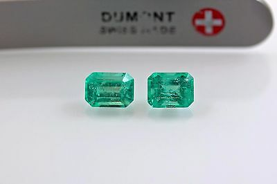 6.5 X 5mm 1.66 Ct Emerald Cut Matched Pair Natural Colombian Emerald Loose Gemst