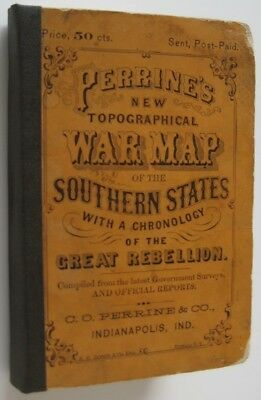 Original 1863 PERRINE'S WAR MAP OF THE SOUTHERN STATES Civil War Battles History