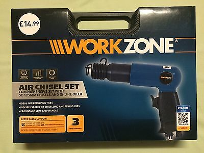 Workzone Air Chisel Set + 5 X175mm Chisels + Oil Bottle +Quick Release Connector