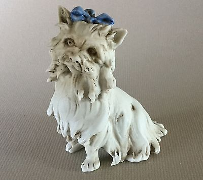 Vintage CAPODIMONTE Porcelain YORKIE Yorkshire Terrier Dog Figurine # 650 Italy
