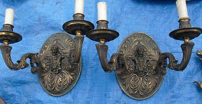 Antque Pair Sconce Wall Lights.  Soldiers. Bronze. weight 4,5 Kg.
