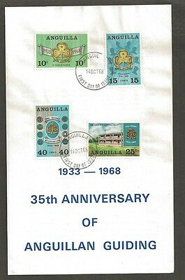 1968 Anguilla Scout 35th anniv Girl Guides FDC stamp publicity folder