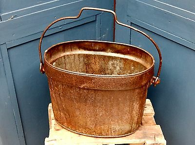 Vintage Metal Bucket Pail   Well Used    Home Garden Display Planter