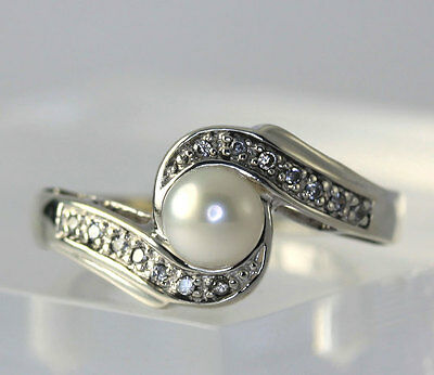 Sterling Silver Cultured Freshwater Pearl Cubic Zirconia Band Ring Size 7.25
