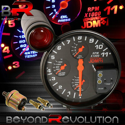5 all chevy black face tachometer 11k rpm gauge jdm red shift black jdm 5 tachometer shift light 4 in 1 oil press temp water meter