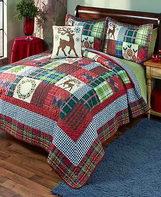 4- Pc Holiday Christmas King Size Quilt Set Accent Pillow 2 Shams Bedroom Decor