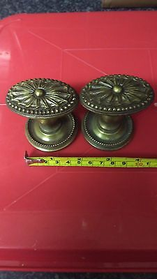VINTAGE Solid Brass Door Knob Handle Ornate SET reclaimed one door set,springles