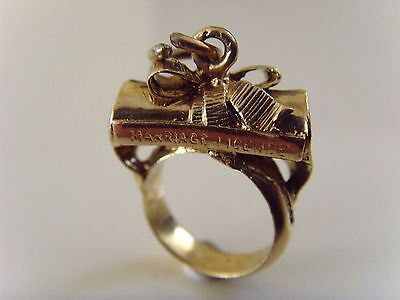 VINTAGE 9 ct GOLD LONDON  HALLMARKED RING & WEDDING LICENCE   CHARM