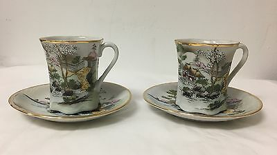 BEAUTIFUL Pair of VTG Hand Painted Japanese Teacups & Saucers
