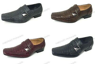 Men's Dress Shoes Loafers Elastic Slip On Crocodile Buckle Formal Italian Church