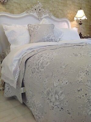 Exquisite King Size Soft Grey Floral Quilt 100%  Cotton French  Style