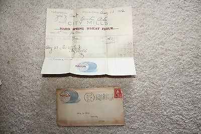 Vintage 1912 Piqua, OH Letterhead and Cover City Mills Hard Spring Wheat Flour
