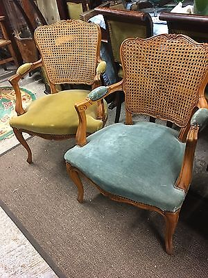Pair Of French Bergere Back Armchairs