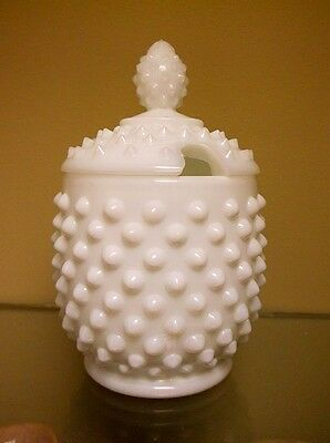 Vintage White Milk Glass Hobnail Sugar Bowl with Lid - Excellent Condition
