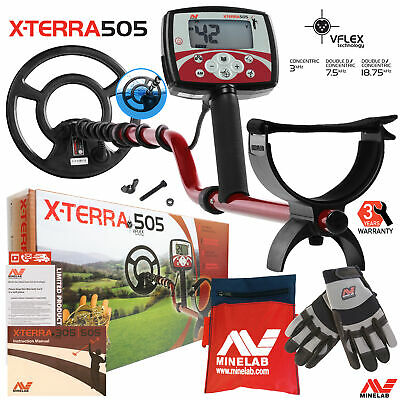 """Minelab X-Terra 505 Metal Detector with 9"""" Search Coil, Minelab Gloves & Pouch"""