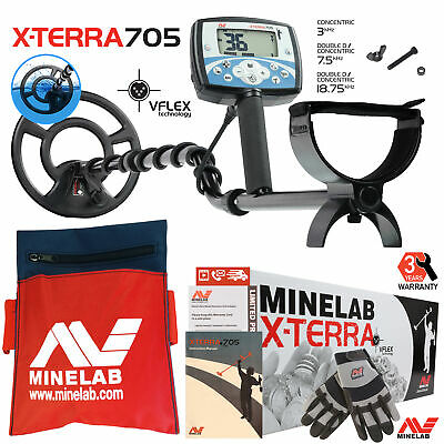 """Minelab X-Terra 705 Metal Detector with 9"""" Search Coil, Gloves & Tool Pouch"""