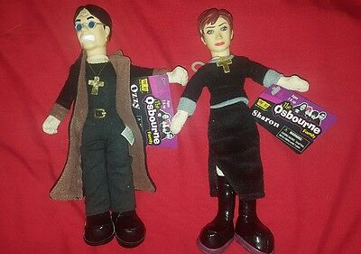 "Sharon & Ozzy Osbourne Fgure Doll Plush Figure JOKS 9"". 2002 the Osborne's New"