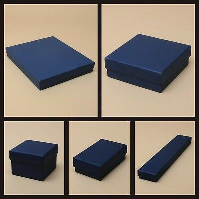 Navy Blue Jewellery Gift Box Ring Necklace Bracelet Earrings Watch Small Present