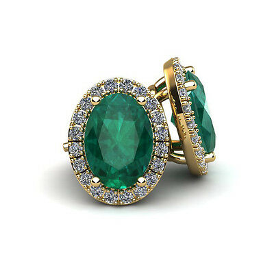 14K Yellow Gold 1 Carat Oval Shape Emerald And Halo Diamond Stud Earrings