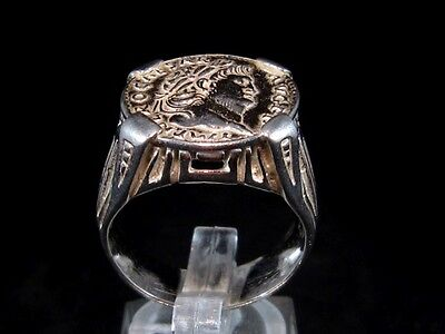Outstanding Roman Style Sterling Silver Ring, Nero Coin