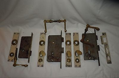 3 Early American Colonial Door Locksets Skeleton Keys Push Down Handles Church?