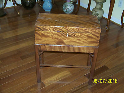 Antique c18th Century Writing Slope Desk Tiger Oak Wooden Secretary w/Stand
