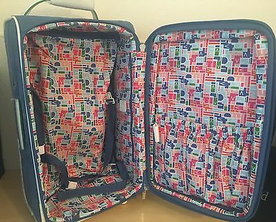 "RARE! Diane Von Furstenberg DVF 21"" Carry On Luggage Expandable Blue w/ Extras!"