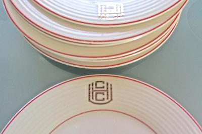 "7 Art Deco Triumph American Limoges 6.5"" Bread Plates Red Band Gold CCH Monogram"