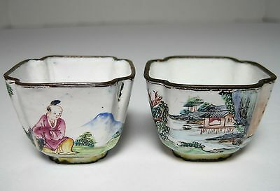 Two Antique 18Th Century Chinese Canton Enamel Cups Famille Rose