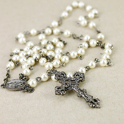 White Pearlescent Rosary Bead Crucifix Necklace Christian Jesus Chain Cross