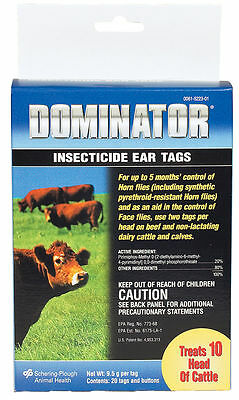 Dominator Insecticide Fly Ear Tags 20 Count Cattle Cows