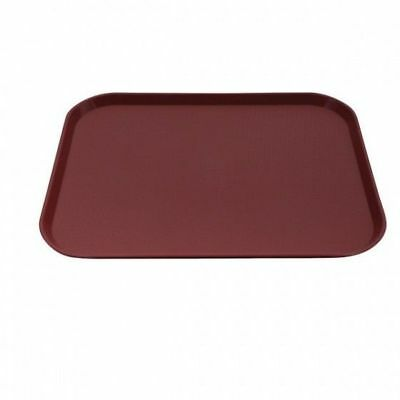 12x Tray, Fast Food Style, Burgundy Polypropylene, Cafeteria, 350 x 450mm