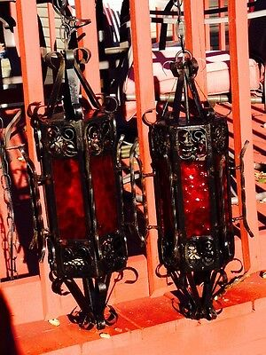 Gothic Wrought Iron Red Glass Hanging Lamps Lights Halloween
