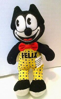 "Felix the Cat Mini Plush Stuffed Animal Figure 5.5"" bowtie yellow"