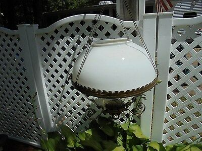 antique hanging double wick oil light fixture milk glass shade weighted top