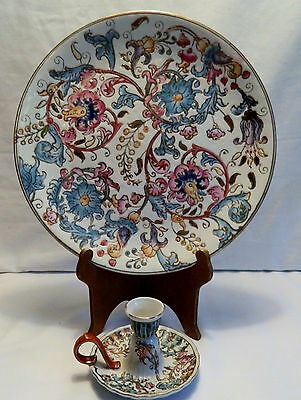 Elegant Etched Asian Plate With Matching Candle Holder
