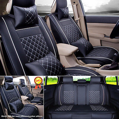 5-Seats Sedan SUV Car PU Leather Seat Cover Front+Rear Set w/Neck Lumbar Pillow